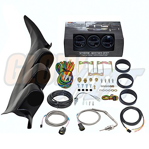 (GlowShift Diesel Gauge Package for 2000-2006 Chevrolet Chevy Silverado Duramax 2500 3500 - Tinted 7 Color 60 PSI Boost, 1500 Pyrometer EGT & Transmission Temp Gauges - Black Triple Pillar Pod)