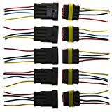 PES 5 Packs of 4 Pin Way Wire Connector Plug Car Auto Waterproof Electrical Connector And Plug Socket Kit with Wire AWG Gauge Marine