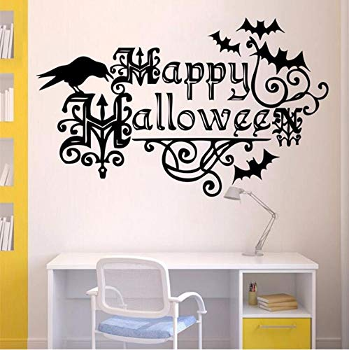 Dzxgyhappy Halloween Flower Vine Crows and Bats Wall Stickers Window Home Decoration Decal Home Decor Removable Decal Vinyl -