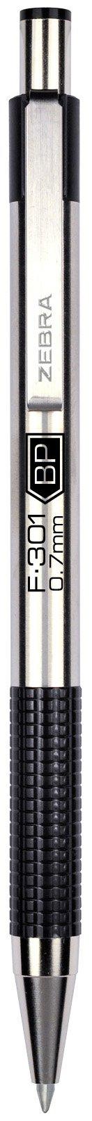Zebra F-301 Ballpoint Stainless Steel Retractable Pen, Fine Point, 0.7mm, Black Ink, 1-Count
