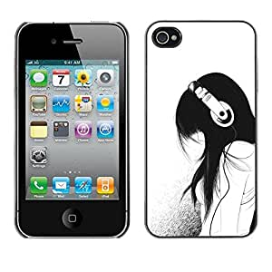 Plastic Shell Protective Case Cover || Apple iPhone 4 / 4S || Headphones Minimalist Sad @XPTECH