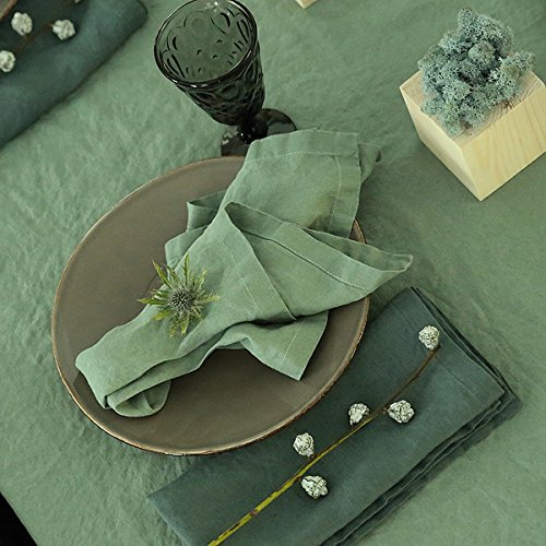 LinenMe Set of 4 Stone Washed Linen Napkins 21'' x21'' 4, Spa Green