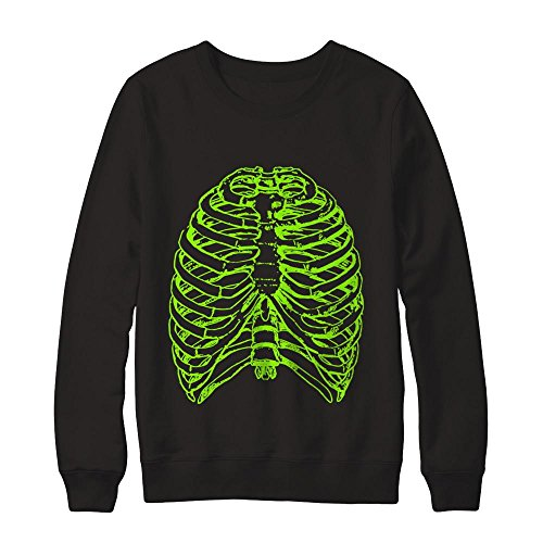 Teely Shop Men's Woman's Halloween Radioactive Skeleton Costume Shir Gildan - Pullover Sweatshirt/Black/S ()