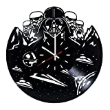 Dath Vader Stormtrooper Vinyl Record Wall Clock- Get unique Living Room decor – Gift ideas for teens, boys and girls – Star Wars Unique Wall Art
