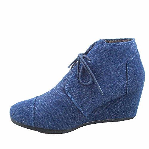 Forever Link Patricia-1 Botines Oxford Oxford Para Mujer Con Cordones Zapatos De Cuña Bajos Denim Blue