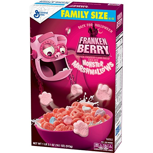 General Mills Cereals Franken Berry Artificial Strawberry Flavor Frosted Cereal With Monster Marshmallows, 18.10 -