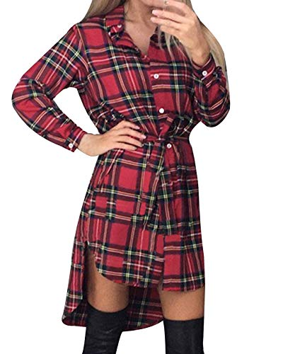 Style Dome Camisas Mujer Blusas Manga Larga Vestidos Invierno Franela Plaid Blusa Vestido Jersey Tartán con Cinturones…