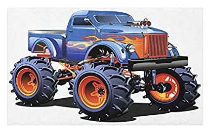 Lunarable Man Cave Doormat, Cartoon Monster Truck with Huge Tyres Off-Road Heavy Large