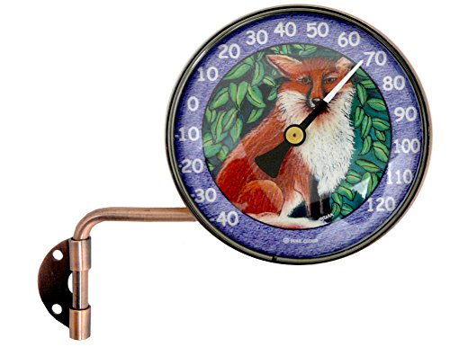 - Modern Artisans Wall-Mounted Swivel Copper Dial Thermometer Fox Art