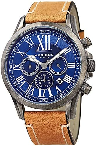 Akribos XXIV Men s Multifunction Watch – 3 Subdials with Date Window – Engraved Concentric Circles Dial and Large Roman Numerals on Genuine Leather Strap – AK897
