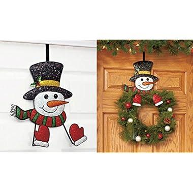 Snowman Wreath Hanger Decor Holiday Christmas Wall Hanging Metal Over Door Rack Hook