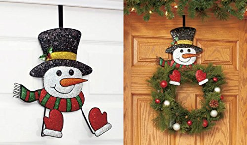 Snowman Wreath Hanger Decor Holiday Christmas Wall Hanging Metal Over Door Rack Hook
