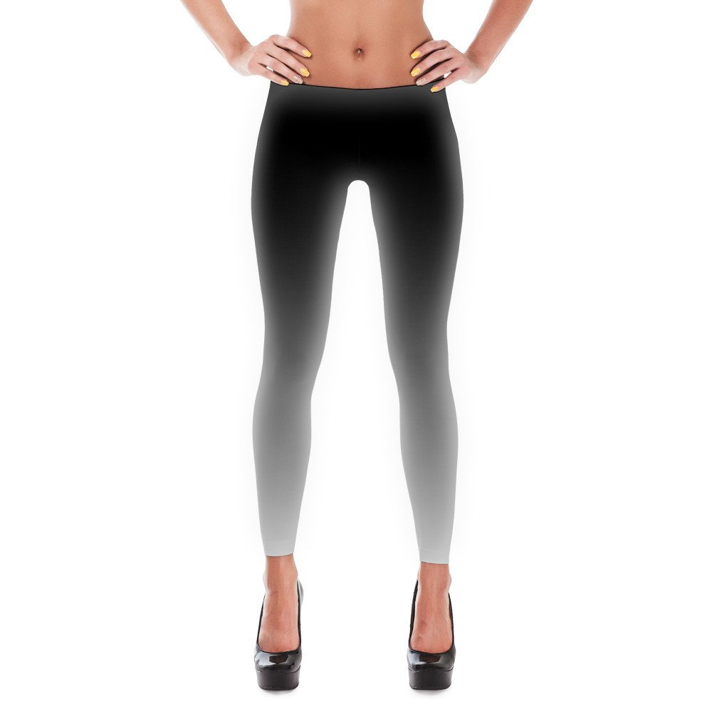 Black and White Ombre Gradient Leggings