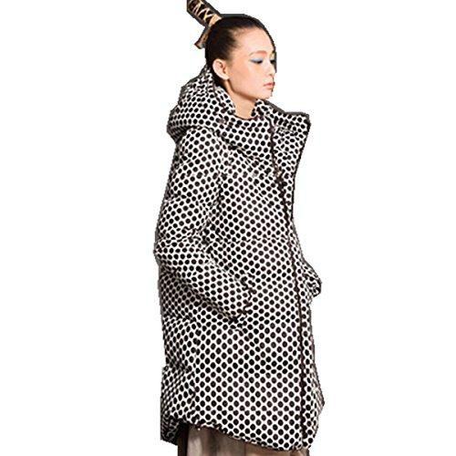 sottile maniche a lunghe pois Midi Fashion cappuccio piumino donna Nero Bestor con a da qxtwwRYHa