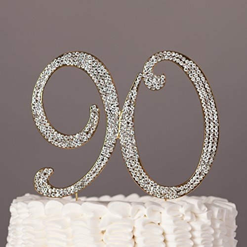 Ella Celebration 90 Cake Topper For 90th Birthday Rhinestone Number Party Supplies Decoration Ideas Gold