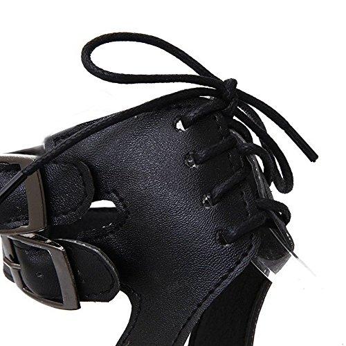 AllhqFashion Mujeres Puntera Abierta Mini Tacón Sintético Sólido Cordones Sandalia Negro