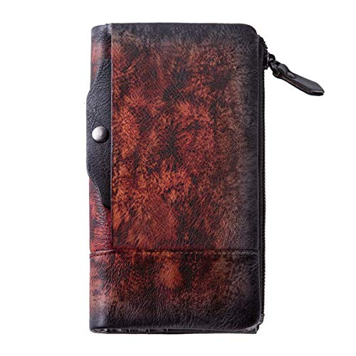 ZLYC Vintage Handmade Dip Dye Leather Long Clutch Wallet Purse with Removable Card Holder (Red Fire)