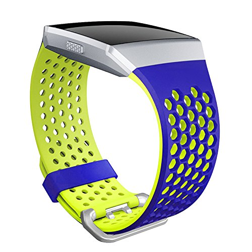 SKYLET For Fitbit Ionic Bands, Soft Silicone Breathable Replacement Wristband for Fitbit Ionic Smart Watch with Buckle (No Tracker)[Blue-Yellow, Large] ()