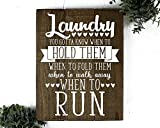 Rustic Wood Laundry Room Sign You Gotta Know When to Fold Them (11 inch x 14 inch)