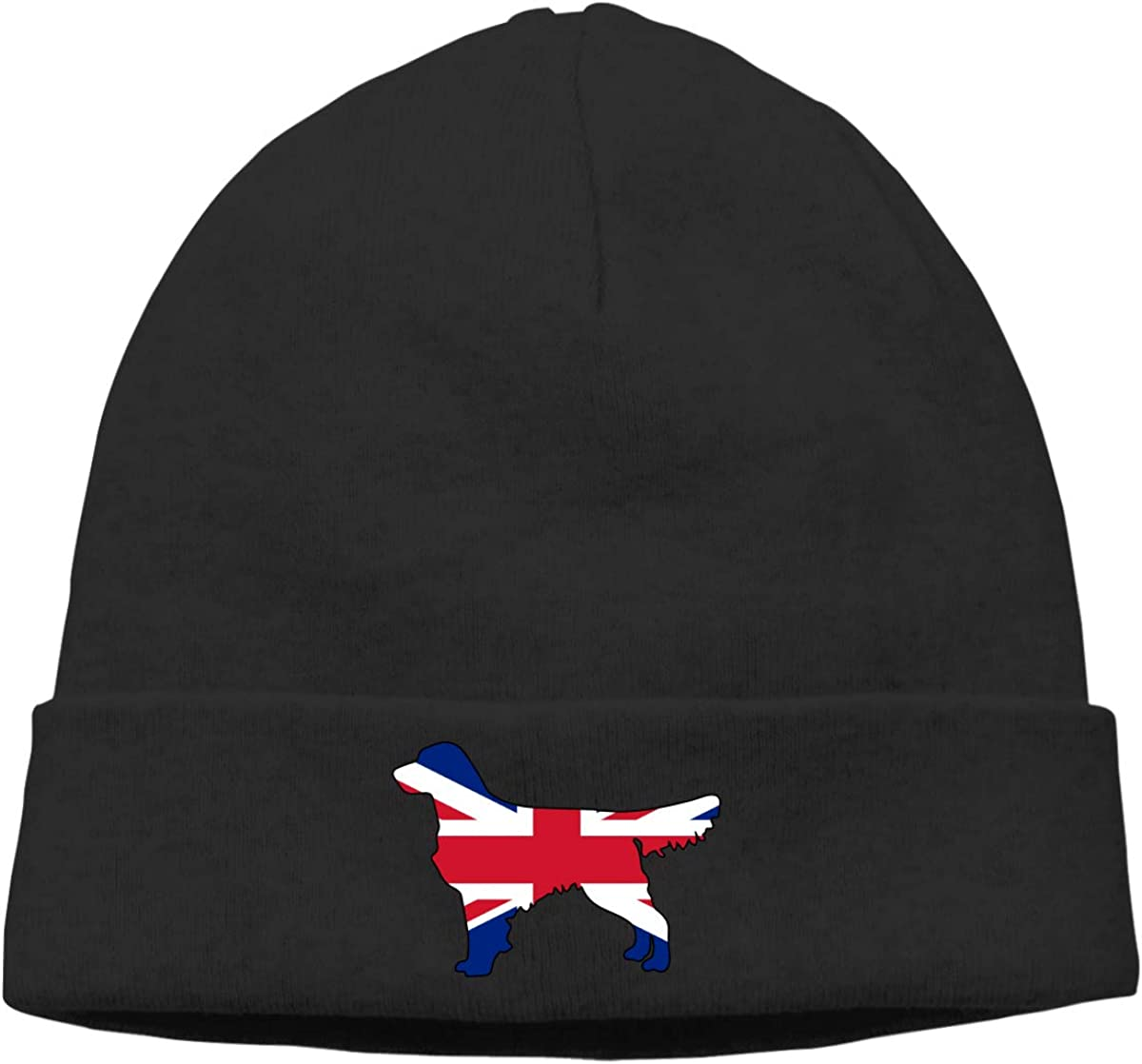 British Flag Golden Retriever Dogs Men /& Women Solid Color Beanie Hat Thin Stretchy /& Soft Winter Cap