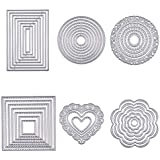 BENECREAT 6 Sets Cutting Dies Cut Metal Scrapbooking Stencils Nesting Die for DIY Embossing Photo Album Decorative DIY Paper Cards Making - Round, Square, Rectangle, Heart, Flower