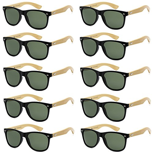 WHOLESALE BAMBOO ECO FRIENDLY MODERN RETRO 80'S CLASSIC SUNGLASSES - 10 PACK (Gloss Black | Olive Lens, 52) -