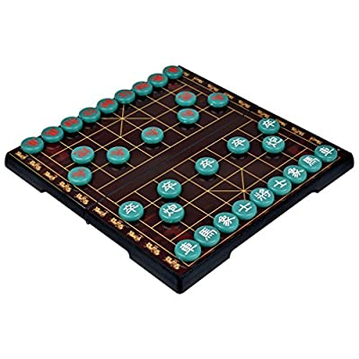 Chinese Chess (Xiangqi), Magnetic Travel Game Set with 12.75 Inch Board and Jade Playing Pieces