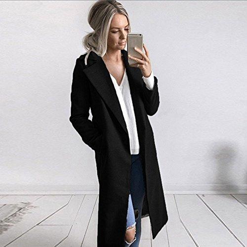 Women Coat Clothes JSPOYOU Solid Color Lapel Pocket Woolen Winter Long Parka Jacket Cardigan Overcoat Outwear by JSPOYOU (Image #5)