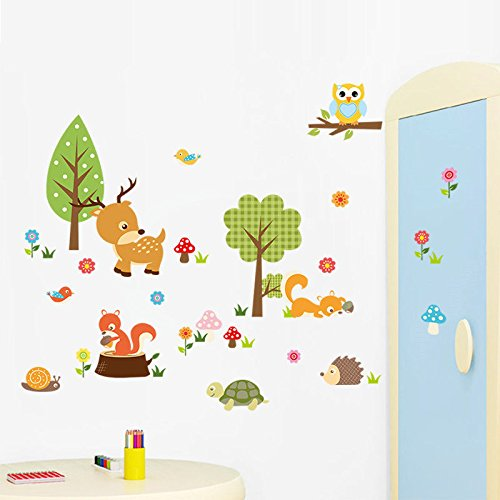 Little Deer And Baby Animal Wall Stickers Home Decor Wallpaper Mural