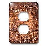3D Rose LSP_228184_6 USA, Southwest, Indian Petroglyphs on Sandstone. 2 Plug Outlet Cover