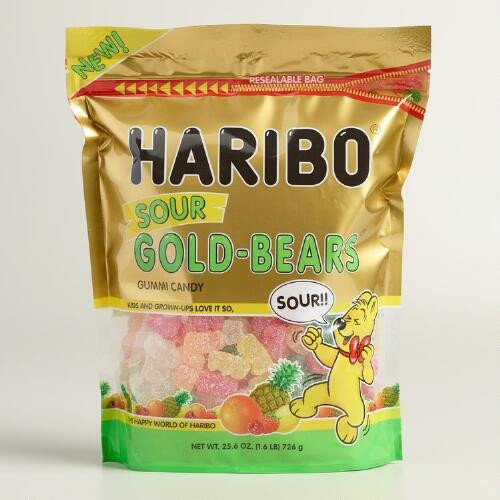 Haribo Gummi Candy Sour Gold-Bears 25.6 oz Resealable - Gummi Bears Sour
