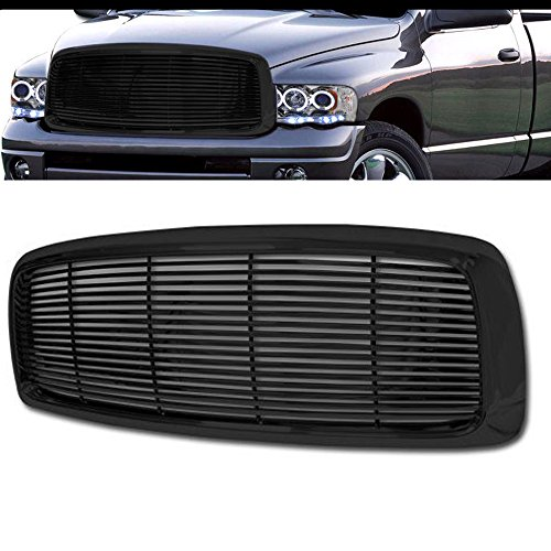 - VXMOTOR for 2002-2005 Dodge Ram - Black Horizontal Billet Front Hood Bumper Grill Grille Cover ABS