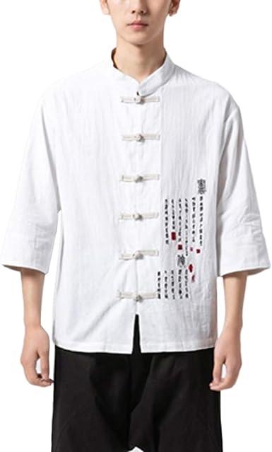 GladiolusA Hombre Chaqueta Traje Tang Chino Camisa De Kung Fu Blusa De Lino: Amazon.es: Ropa y accesorios