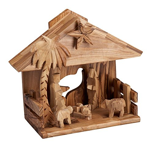 Bannouras Olive Wood - Ten Thousand Villages O Little Town of Bethlehem Song Playing Olive Wood Nativity 'Music Box Nativity'