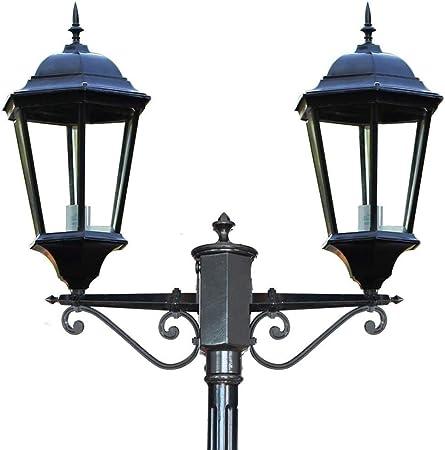 Luces de Poste de jardín Vía Farola Exterior Pilar de Aluminio Linterna Pantalla de Vidrio de 2 Luces Pantalla Impermeable IP55 Puerta Super Brillante Patio Iluminación de Mesa (tamaño : 3.03m): Amazon.es: