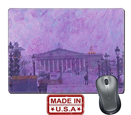 "Liili Natural Rubber Mouse Pad/Mat with Stitched Edges 9.8"" x 7.9"" original oil painting of the champ elysees paris Photo 7079623"