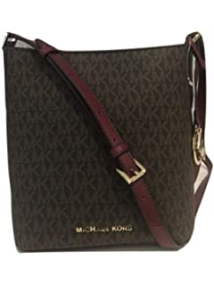 Amazon.com  Michael Kors Adele Leather Messenger Bag Mulberry Ballet ... d64d6d590535b