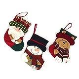 YAMUDA Samll Size Christmas Hanging Stockings, Decors Santa Gift, 3D Xmas Socks Candy Gift (set of 3-B)
