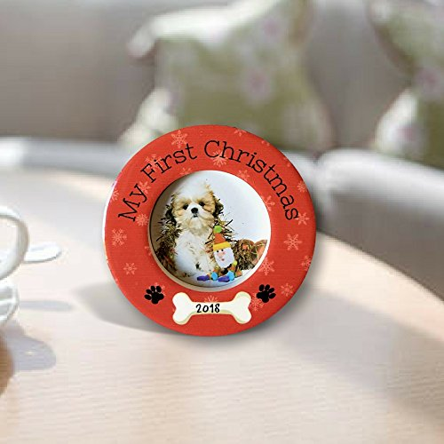 Banberry Designs Dog's First Christmas Photo Frame 3 1/2 Inch Desktop 2018 Dog Bone and Paw Prints - Also New Puppy Xmas Ornament (Puppy Christmas Dog Ornament)