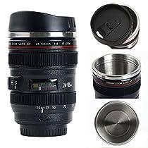 Coffee Mugs,Camera Lens Coffee Mug/Cup With Lid,Photo Coffee Mugs Stainless Steel Travel Lens Mug Thermos 13.5oz BIMANGO