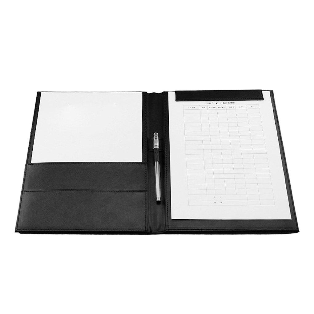 Portablocco formato A4, in pelle PU Cartella Business cartella documenti per ufficio e conferenza cartellina con clip magnetica nero yijianzhongqing