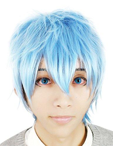 Nuoqi Anime Kuroko Tetsuya Short Light Blue Fluffy Cosplay Hair Wig
