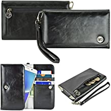 Case+Black-Stylus PU Leather Purse/Clutch/Pouch Fits Apple iPhone Samsung LG Motorola HTC ZTE Universal Women's Cute Wristlet Strap Flip Case Wallet - Black Small. Fits the Following Models: