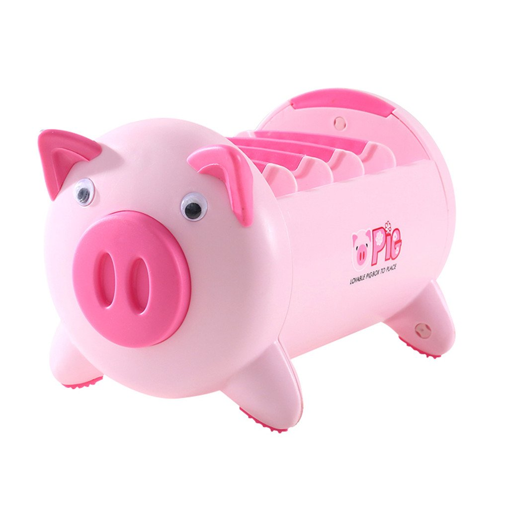 4 Storage Compartments Multifunctional Cartoon Pig Office Desktop Organizer, Stationery Storage Box Collection, Business Card/Pen/Pencil/Mobile Phone/Remote Control Holder (Pink)