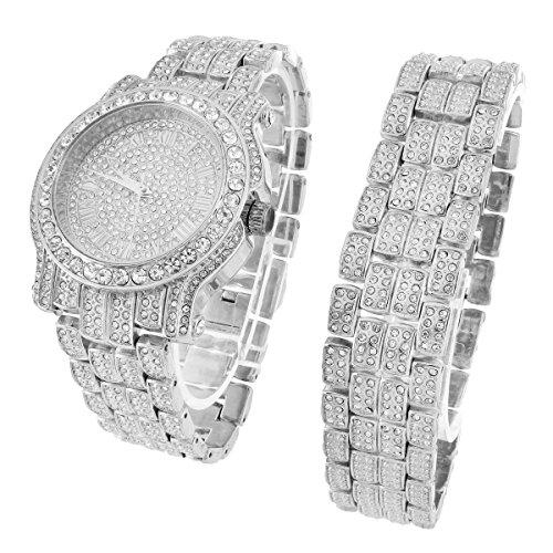 Custom Watch Bracelet Set Simulated Diamond Analog 45 MM JoJo Look
