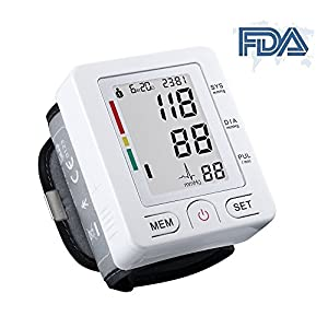 SuperSWK Automatic Digital Wrist Blood Pressure Monitor with Case, FDA Approved, Adjustable Wrist Cuff, Large LCD Display, 90 Memory Recall Capacity, 2 User Mode