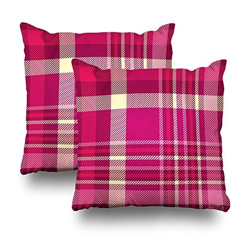 Suesoso Decorative Pillows Case 18 X 18 Inch Set of 2, Plaid Check Shades Pink Maroon Cream Fabric Throw Pillowcover Cushion Decorative Home Decor Garden Sofa Bed Car