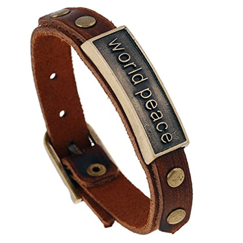 Men Bracelet, PopJ Charm Leather Cuff Belt Buckle Wrap Strap Bracelet Brown (World Peace)