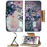Luxlady Premium Apple iPhone 6 Plus iPhone 6S Plus Flip Pu Leather Wallet Case iPhone6 IMAGE ID: 44355776 statice flower bouquet on wood background soft focus with vintage film filter