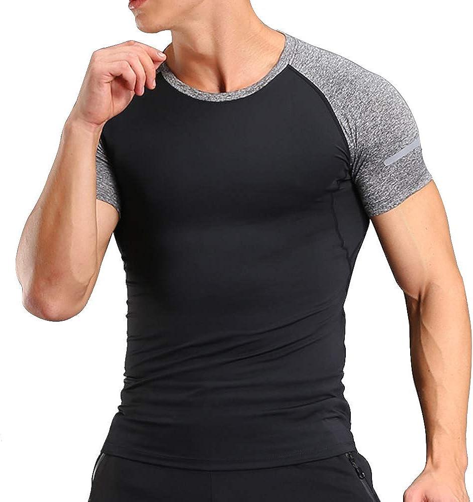 MUSCLE ALIVE Herren Kompressionsunterw/äsch Achselshirts T-Shirts Oben Fitnessstudio Sportbekleidung Polyester und Spandex